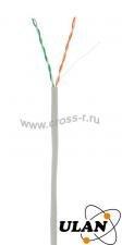 Кабель ULAN U/UTP 2 пары, Кат.5, 100МГц, одножильный, BC (чистая медь), внутренний, PVC нг(B), серый, 500м ( UEC-UU002-5-PVC-GY-5 )