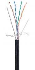 Кабель NETLAN U/UTP 4 пары, Кат.5e, 100МГц, одножильный, BC (чистая медь), внешний, PE до -40C, с одножильным тросом, черный, 305м ( EC-UU004-5E-PE-SW-BK )