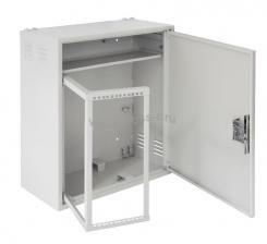 Настенный антивандальный шкаф с поворотной рамой и полкой, 4U, Ш580хВ700хГ280мм, серый ( EC-WS-047028-GY )