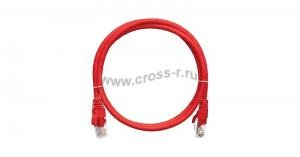 Коммутационный шнур NIKOMAX U/UTP 4 пары, Кат.5е (Класс D), 100МГц, 2хRJ45/8P8C, T568B, заливной, с защитой защелки, многожильный, BC (чистая медь), 24AWG (7х0,205мм), LSZH нг(А)-HFLTx, красный ( NMC-PC4UD55B-003-C-RD )
