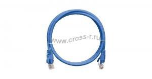 Коммутационный шнур NIKOMAX U/UTP 4 пары, Кат.5е (Класс D), 100МГц, 2хRJ45/8P8C, T568B, заливной, с защитой защелки, многожильный, BC (чистая медь), 24AWG (7х0,205мм), LSZH нг(А)-HFLTx, синий ( NMC-PC4UD55B-003-C-BL )