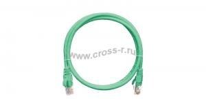 Коммутационный шнур NIKOMAX U/UTP 4 пары, Кат.5е (Класс D), 100МГц, 2хRJ45/8P8C, T568B, заливной, с защитой защелки, многожильный, BC (чистая медь), 24AWG (7х0,205мм), LSZH нг(А)-HFLTx, зеленый ( NMC-PC4UD55B-003-C-GN )