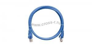 Коммутационный шнур NIKOMAX U/UTP 4 пары, Кат.5е (Класс D), 100МГц, 2хRJ45/8P8C, T568B, заливной, с защитой защелки, многожильный, BC (чистая медь), 24AWG (7х0,205мм), PVC нг(А), синий ( NMC-PC4UD55B-003-BL )
