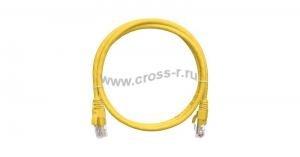 Коммутационный шнур NIKOMAX U/UTP 4 пары, Кат.5е (Класс D), 100МГц, 2хRJ45/8P8C, T568B, заливной, с защитой защелки, многожильный, BC (чистая медь), 24AWG (7х0,205мм), PVC нг(А), желтый ( NMC-PC4UD55B-003-YL )