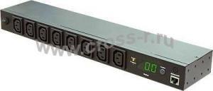 """Блок  контролируемых электрических розеток TLK, Серия MN (Monitored) 19"""", 8 гнезд C13, макс. нагрузка 16 А, шнур питания 3 м., вилка С20, цифровое измерение силы тока на входе, металлический корпус, макс. мощность 4000 Вт, 432*44*90 мм, цвет черный. ( TLK-RPI-MN-A08-M21-BK )"""