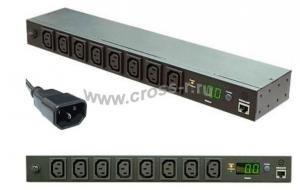 """Блок  контролируемых электрических розеток TLK, Серия MN (Monitored) 19"""", 8 розеток C13, макс. нагрузка 10 А, шнур питания 3 м., вилка С14, цифровое измерение силы тока на входе, металлический корпус, макс. мощность 2500 Вт, 432*44*90 мм, цвет черный ( TLK-RPI-MN-A08-M11-BK )"""