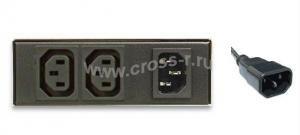 """Блок  контролируемых электрических розеток TLK, SW - Switched, (включение и отключение каждой розетки, измерение общего потребления и отправка показаний через LAN), 19"""", 2 розетки C13, макс. нагрузка 10 А, шнур питания 1,8 м., вилка С14, цифровое измерение силы тока на входе, металлический корпус, макс. мощность 2500 Вт, 120*40*100 мм, цвет черный. ( TLK-RPI-SW-A02-M11-BK )"""