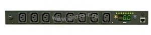 """Блок  контролируемых электрических розеток TLK, SW - Switched, (включение и отключение каждой розетки, измерение общего потребления и отправка показаний через LAN), 19"""", 8 розеток C13, макс. нагрузка 10 А, шнур питания 3 м., вилка С14, цифровое измерение силы тока на входе, металлический корпус, макс. мощность 2500 Вт, 432*44*90 мм, цвет черный. ( TLK-RPI-SW-A08-M11-BK )"""