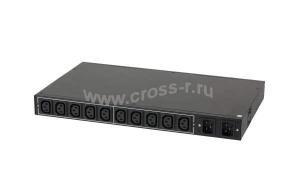 """Блок  контролируемых электрических розеток TLK, 19"""", AT - ATS, Автоматическое переключение питания между вводными линиями, включение и отключение каждой розетки, измерение потребления каждой розетки и отправка показаний через LAN, 10 розеток C13, макс. нагрузка 16 А, Счетчик электроэнергии кВт*ч, 2 ввода питания,  2* шнур питания 3 м., 2*вилка С20, металлический корпус, макс. мощность 4000 Вт, 432 ( TLK-RPI-AT-A10-M22-W-BK )"""