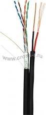 Кабель NETLAN F/UTP 4 пары, Кат.5e (Класс D), 100МГц, одножильный, BC (чистая медь), с многожильным силовым кабелем 0,75мм2, внешний, PE до -40C, черный, 305м ( EC-UF004-5E-PC075-PE-BK )