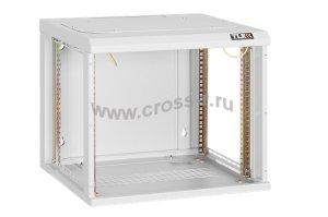 """Настенный шкаф 19"""", 9U, стеклянная дверь, Ш530хВ466хГ600мм, цельносварной, серый ( TWC-095360-G-W-GY )"""
