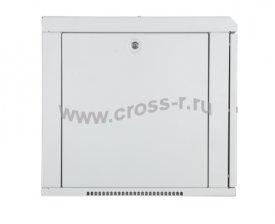 """Настенный шкаф 19"""", 9U, стеклянная дверь, Ш600хВ466хГ500мм, цельносварной, серый ( TWC-096050-G-W-GY )"""