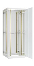 """Напольный шкаф 19"""", 18U, стеклянная дверь, Ш600хВ998хГ600мм, в разобранном виде, серый ( TFR-186060-GMMM-GY )"""