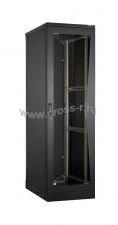 """Напольный шкаф 19"""", 42U, стеклянная дверь, Ш800хВ2080хГ1000мм, в разобранном виде, черный ( TFL-428010-GMMM-BK )"""
