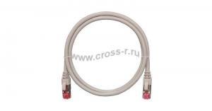 Коммутационный шнур NIKOMAX S/FTP 4 пары, Кат.6a (Класс Ea), 500МГц, 2хRJ45/8P8C, T568B, заливной, с защитой защелки, многожильный, BC (чистая медь), 26AWG (7х0,165мм), LSZH нг(А)-HFLTx, серый ( NMC-PC4SA55B-003-C-GY )
