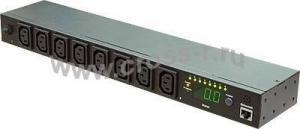 """Блок  контролируемых электрических розеток TLK, SW - Switched, (включение и отключение каждой розетки, измерение общего потребления и отправка показаний через LAN), 19"""", 8 розеток C13, макс. нагрузка 16 А, шнур питания 3 м., вилка С20, цифровое измерение силы тока на входе, металлический корпус, макс. мощность 4000 Вт, 432*44*90 мм, цвет черный. ( TLK-RPI-SW-A08-M21-BK )"""