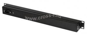 """Блок электрических розеток TLK, 19"""", 8 гнезд, 15 А, с фильтром и предохранителем, без шнура питания, металлический корпус ( TLK-RS08MF1-BK )"""