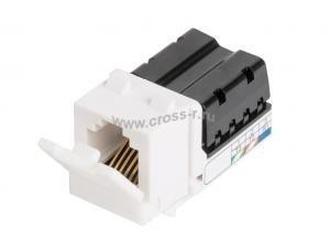 Модуль-вставка NIKOMAX типа Keystone, Кат.3 (Класс C), 16МГц, RJ12/6P6C, 110/KRONE, USOC, неэкранированный, белый ( NMC-KJUC3-WT )