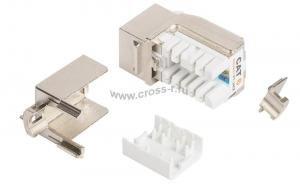 Модуль-вставка NIKOMAX типа Keystone, Кат.5е (Класс D), 100МГц, RJ45/8P8C, FT-TOOL/110/KRONE, T568A/B, полный экран,  белый - гарантия: 5 лет расширенная / 25 лет системная ( NMC-KJSD2-FT-MT )
