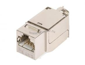 Модуль-вставка NIKOMAX типа Keystone, Кат.6a (Класс Ea), 500МГц, RJ45/8P8C, FT-TOOL/110/KRONE, T568A/B, полный экран, металлик - гарантия: 5 лет расширенная / 25 лет системная ( NMC-KJSA2-FT-MT )