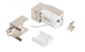 Модуль-вставка NIKOMAX типа Keystone, Кат.6a (Класс Ea), 500МГц, RJ45/8P8C, FT-TOOL/110/KRONE, T568A/B, полный экран, металлик - гарантия: 5 лет расширенная / 25 лет системная ( NMC-KJSA2-FT-MT )