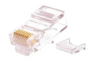 Коннектор NIKOMAX RJ45/8P8C под витую пару, Кат.5e (Класс D), 100МГц, покрытие 50мкд, универсальные ножи, неэкранированный, со вставкой, круглый ввод, уп-ка 100шт. ( NMC-RJ88RZ50UD2-100 )