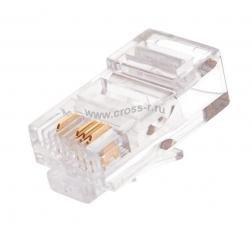 Коннектор NIKOMAX RJ45/8P4C под витую пару, Кат.5 (Класс D), 100МГц, покрытие 6мкд, под многожильный кабель, неэкранированный, Ethernet-разводка (контакты 1,2,3,6), круглый ввод, уп-ка 100шт. ( NMC-RJ84RE06UD1-100 )