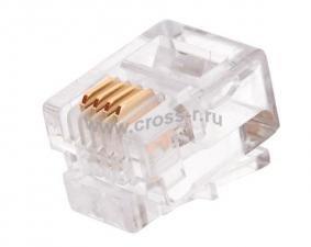Коннектор NIKOMAX RJ11/6P4C телефонный, Кат.3 (Класс C), 16МГц, покрытие 6мкд, под многожильный кабель, неэкранированный, круглый ввод, уп-ка 100шт. ( NMC-RJ64RE06UC1-100 )