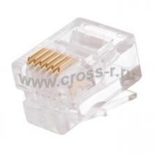 Коннектор NETLAN RJ12/6P6C под витую пару, Кат.3 (Класс C), 16МГц, покрытие 3мкд, универсальные ножи, для проводников 0,40-0,45мм, неэкранированный, уп-ка 1000шт. ( EC-UP6P6C-UC-003-TR-1000 )