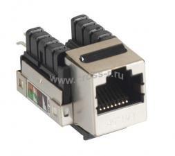 Модуль-вставка NETLAN типа Keystone, Кат.5e (Класс D), 100МГц, RJ45/8P8C, 110/KRONE, T568A/B, экранированный, металлик, уп-ка 10шт. ( EC-UKJ-SD2-MT-10 )