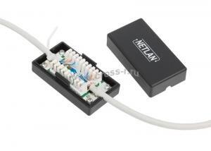 Кабельный соединитель NETLAN IDC-IDC, Кат.5e (Класс D), 100МГц, KRONE, T568A/B, неэкранированный, черный, уп-ка 10шт. ( EC-UCB-IDC-UD2-BK-10 )