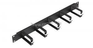 """Кабельный органайзер NIKOMAX 19"""", 1U, глубина колец 80мм, металлический, черный, уп-ка 2шт. ( NMC-OK800-2 )"""