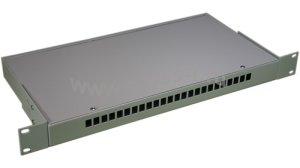 Кросс оптический стоечный 1U под 24 порта SC/LC (пустой) (сплошная планка, монтажный комплект) ( КРС-24SC-1U NULL спл. пл. )