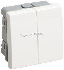 ВК1-22-00-П Выключатель двухклавишный (на 2 модуля) ПРАЙМЕР белый IEK ( CKK-40D-VD2-K01 )